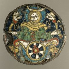 Plaque with Personification of the Moon, Southern France Copper alloy, iron, and cloisonné enamel Carolingian art Metropolitan Museum Medieval Jewelry, Ancient Jewelry, Medieval Art, European History, Art History, Renaissance, Carolingian, Early Middle Ages, Gothic