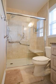 Complete Bathroom Remodel updated standing shower with glass door. new updated tile, in this