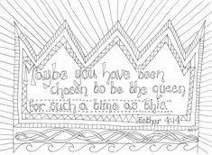 Using Colouring as a reflection tool is becoming more and more popular- not just for children but for adults too! Here is a colouring sheet based on the story of Esther which will help children to … Sunday School Activities, Sunday School Lessons, Sunday School Crafts, School Kids, Preschool Bible, Bible Activities, Preschool Letters, Queen Esther Bible, Quote Coloring Pages