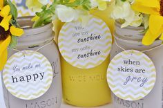 This charming baby shower centerpiece includes one large (quart) mason jar in Sunshine Yellow, and two small (pint) jars in Grey. Description from etsy.com. I searched for this on bing.com/images