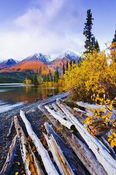 Kathleen Lake and mountains, Kluane National Park and Reserve of Canada, Yukon, by Yves Marcoux
