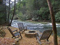 River, wine, firepit.  Bella Deer in Ellijay, GA Sliding Rock Cabins, must go!
