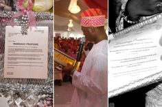At a traditional Nigerian Yoruba wedding, the groom's family must present a formal proposal letter to the bride's family. Engagement Cakes, Wedding Engagement, Letters To The Bride, Proposal Letter, Yoruba Wedding, Nigerian Bride, Acceptance Letter, Marriage Proposals, Formal Wedding