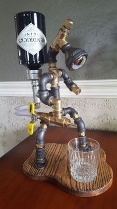 Its the weekend, keep it classy. 60 photos - The Laughter Ward - Salvabrani Whiskey Dispenser, Alcohol Dispenser, Drink Dispenser, Whisky Spender, Pipe Decor, Pipe Lighting, Steampunk Lamp, Industrial Pipe, Pipe Lamp