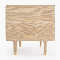 Solid ash side table with brass hardware details | Kalon Studios | Simple Sidetable
