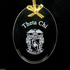 Theta Chi, ΘΧ, Name & Crest Beveled Crystal Ornament/Sun Catcher #McCartney