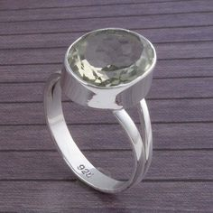 Green Amethyst 925 SOLID STERLING SILVER DESIGNER Fancy JEWELLERY 3.90g DJR3468 #Handmade #Ring