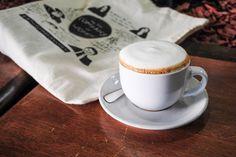 Cappuccino and my In The Company of Women tote bag, Funnel Mill, Santa Monica, CA