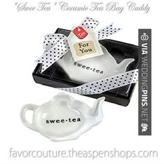 """So neat - Practical Wedding, Bridal Shower and Baby Shower Favors  Tea Theme Practical Favors """"Swee-Tea"""" Ceramic Tea-Bag Caddy in Black & White Serving-Tray Gift Box   CHECK OUT MORE GREAT REHEARSAL DINNER PICS AND IDEAS AT WEDDINGPINS.NET   #weddings #wedding #rehearsal #rehearsaldinner #bachelorparty #events #forweddings"""