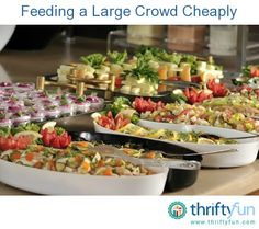 This is a guide about feeding a large crowd cheaply. Planning an inexpensive meal for a graduation party can seem daunting, but it is doable. Cooking For A Crowd, Food For A Crowd, Party Food On A Budget, Fingers Food, Graduation Party Foods, Graduation 2015, Graduation Ideas, Large Crowd, Catering Food