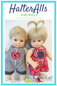 Baby Doll Clothes Sewing Pattern, 15 inch dolls like Bitty Baby Twins Baby, HalterAlls, Boy Doll Romper Overalls Doll Clothes, printable PDF Easy Sewing Patterns, Doll Clothes Patterns, Baby Patterns, Pdf Patterns, Doll Patterns, Bitty Baby Clothes, Girl Doll Clothes, Baby Girl Dolls, Boy Doll