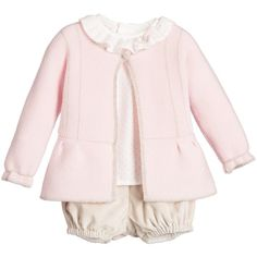 Paz Rodriguez Baby Girls Pink Blouse, Cardigan Shorts Set ($175) ❤ liked on Polyvore featuring baby clothes
