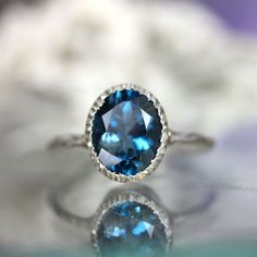 London Blue Topaz Milgrain Ring In Nickel Free Sterling Silver - via Etsy.