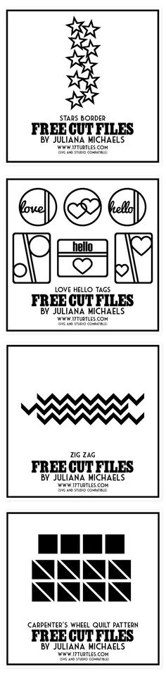 Free Silhouette cut files by Juliana Michaels: http://www.17turtles.com/p/my-cut-files.html