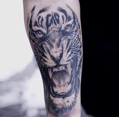 Black & Grey Tiger Tattoo