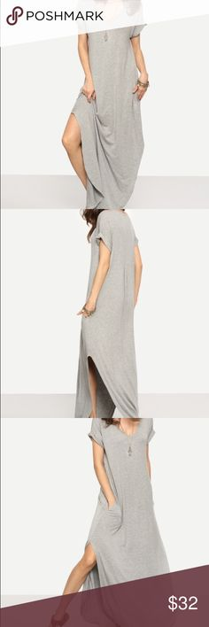 "Rolled cuff maxi❣️ Heather Grey Rolled-cuff Split Maxi Dress with Pockets!  Fabric is very stretchy                                                             95% Cotton 5% Spandex              Bust: S:45.5"" M:47"" L:48.5""  Waist Size: S:37"" M:38.5"" L:40"" Length: S:56"" M:56.5"" L:57"" Dresses Maxi"