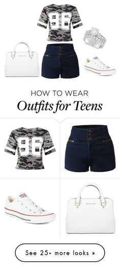 """""""Untitled #42"""" by lydia-fabian on Polyvore featuring Converse, LE3NO, New Look, Allurez and Michael Kors"""