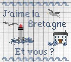Bretagne - breizh - j'aime - point de croix - cross stitch - Blog : http://broderiemimie44.canalblog.com/