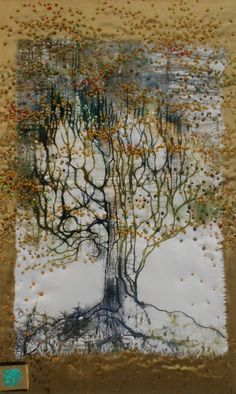 Hellenne Vermillion Art tree. Wax etching silk dyes on silk embellished with French knots mounted on silk dupioni.