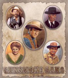 "Gunsmoke Crew: Ken Curtis (""Festus""), Milburn Stone (""Doc Adams""), James Arness (""Marshall Dillon), Amanda Blake (""Miss Kitty), and Buck Taylor (""Newly"") Best Western, Western Art, Western Style, Miss Kitty, Tv Westerns, Old Shows, Thing 1, Western Movies, Down South"