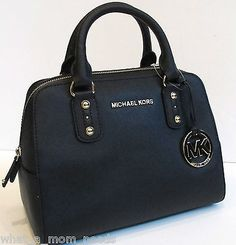 NWT Authentic Michael Kors Saffiano Leather Small Satchel Purse Bag ~ Black