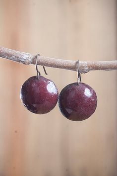 Copper Earrings with Ruby Red Enamel & Niobium by UruzMetals