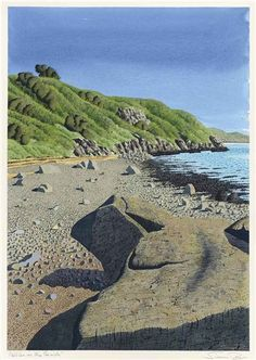 Artwork by Simon Palmer, Pebbles on the Beach, Made of Pen and black ink, watercolour and bodycolour on paper Landscape Art, Landscape Paintings, Landscape Drawings, Beautiful Book Covers, Soul Art, Naive Art, Modern Landscaping, Watercolor And Ink, New Art