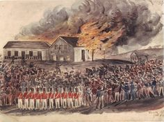 This painting by Swiss-Canadian prospector Charles Alphonse Doudiet captured the burning of the Eureka hotel--a pivotal moment in the events leading to the Eureka battle--a scene used in the novel. Eureka Stockade, The Rocks Sydney, Van Diemen's Land, Terra Australis, Aboriginal History, Mystery Of History, History Mysteries, Canvas Tent, Modern Pictures