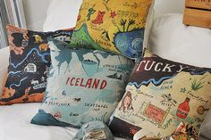 Linen Cotton Pillow Cover USA MAP Home Decor by homeandlifestyle, $19.00
