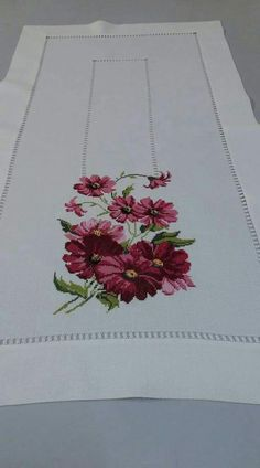 Table Runner, it!s perfect in every way. Cross Stitch Borders, Cross Stitch Rose, Cross Stitch Flowers, Modern Cross Stitch, Cross Stitching, Cross Stitch Patterns, Ribbon Embroidery, Cross Stitch Embroidery, Embroidery Patterns Free