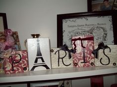 Shabby French Decorative Paris blocks red by JulieannasCreations, $18.00
