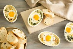 Creamy Baked Eggs with Leeks and Spinach and variations: Antipasti Baked Eggs; Mediterranean Baked Eggs; and Breakfast Pizza Baked Eggs