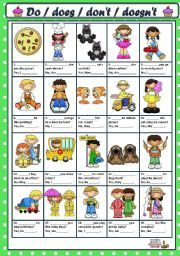 English worksheet: ASKING AND ANSWERING QUESTIONS WITH DO / DOES / DON´T / DOESN´T