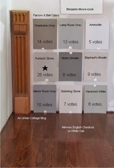 flooring color Urban cottage floor stain -- Minwax English chestnut on white oak Trim Paint Color, Neutral Paint Colors, Room Paint Colors, Paint Colors For Living Room, Paint Colors For Home, Wall Colors, Hallway Paint Colors, Farrow Ball, Farrow And Ball Paint