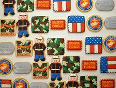 Deployment Countdown, Marine Cake, Marine Corps Birthday, Custom Cookies, Boot Camp, Party Stuff, Baking Ideas, Usmc, Cookie Decorating