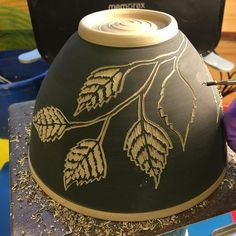 Sgraffito Saturday. #handmade #northwoodsarttour #northwindpottery #northwoods #pottersofinstagram #sgraffito #bowls #ceramics #ceramicartist #pottery #potterslife #potterystudio #pottersofinstagram #birch #intothewoods #carvedclay #wip
