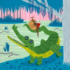 The Alligator and The Armadillo - Animal illustration - Limited Edition Print - iOTA. Love all his work.