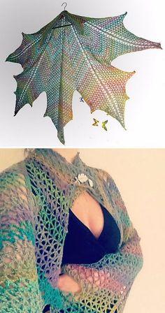 30 Great Crochet Shawl Patterns - Maple Leaf Crochet Shawl.