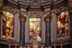 #altar #architecture #art #cathedral #catholic #church #decoration #glass #indoors #interior design #religion #sculptures #royalty free images
