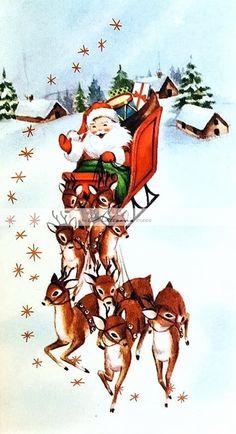 Vintage Christmas Card Santa Claus Sleigh Reindeer Present Snow Star House Town Christmas Scenes, Noel Christmas, Merry Little Christmas, Retro Christmas, Christmas Greetings, Christmas Crafts, Christmas Decorations, Father Christmas, Reindeer Christmas