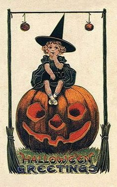vintage Halloween little girl witch pumpkin black cat card. This would be so cute to use as a halloween party invitation