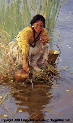 """Native American Art Getting Water. While I can see """"Claggett/Rey Gallery"""" on the bottom of this painting I could not find the painting or artist on the site. If you can identify the artist from this image please leave a comment. Native American Paintings, Native American Pictures, Native American Beauty, Indian Pictures, American Indian Art, Native American History, American Indians, American Lady, Native Indian"""
