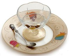 $50 - Golden Pomegranate Plate & Condiment Dish Set by Lily Art