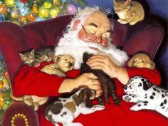 Christmas images Santa with Puppies and Kittens HD wallpaper and background photos Christmas Blessings, Christmas Wishes, Christmas Art, Vintage Christmas, Christmas Specials, Christmas Things, Father Christmas, Christmas Desktop, Christmas Wallpaper