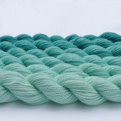 Aquamarine to Turquoise Skeins of Wool Yarn. Very Mermaidish