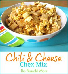 Super Bowl Snack: Chili & Cheese Chex Mix - The Peaceful Mom   #superbowl