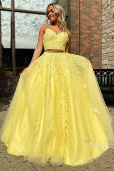 Yellow Formal Dress, Yellow Evening Dresses, Best Formal Dresses, Prom Dresses Two Piece, Prom Dresses For Teens, A Line Prom Dresses, Tulle Prom Dress, Prom Party Dresses, Dance Dresses