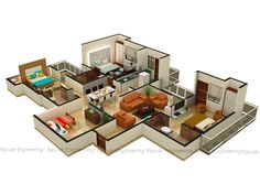 Architectural presentation drawings of house plans converted into floor plans. Furniture and fixtures are added for more depth and realism. Studio Apartment Plan, Apartment Plans, Apartment Layout, Home Design Floor Plans, Floor Design, House Design, 3d Design, Rendered Plans, Small Room Design Bedroom