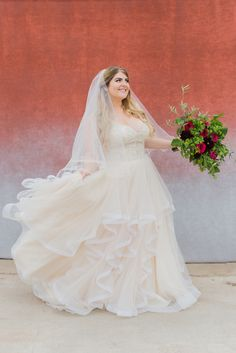 Natural Waisted ballgown with layers of horsehair! So perfect for any #curvybride Found at Della Curva Tarzana, CA