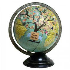 """Your World"" Customized Family Tree Vintage Globe"